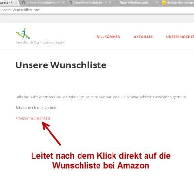 Amazon Wunschliste auf der Webseite Vorschau