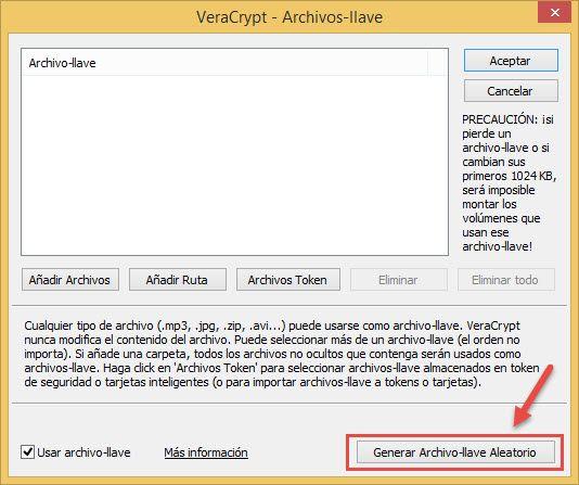 Seleccionar archivo-llave Veracrypt