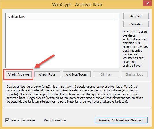 Añadir archivo-llave Veracrypt