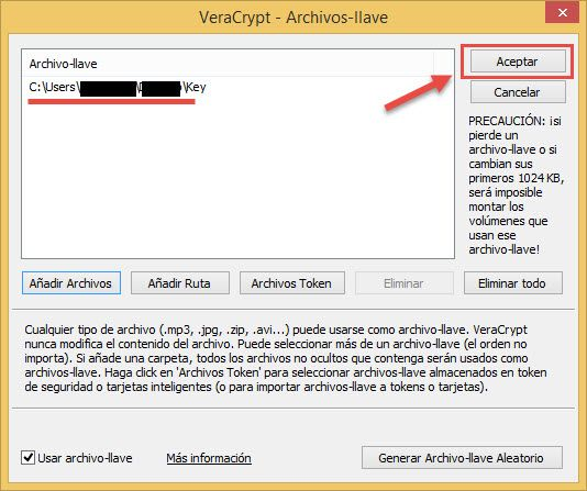 Confirmar lugar de guardado del archivo-llave Veracrypt