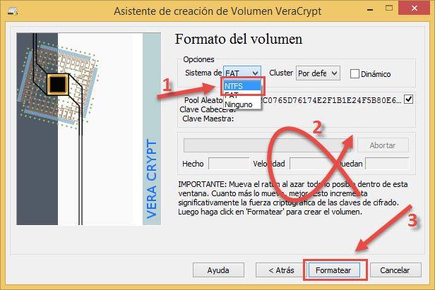<Seleccionar formato de archivo de sistema Veracrypt