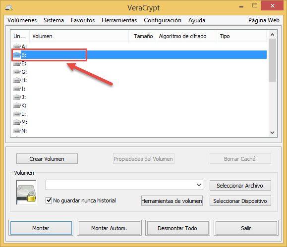 Seleccionar letra para el disco virtual cifrado de Veracrypt