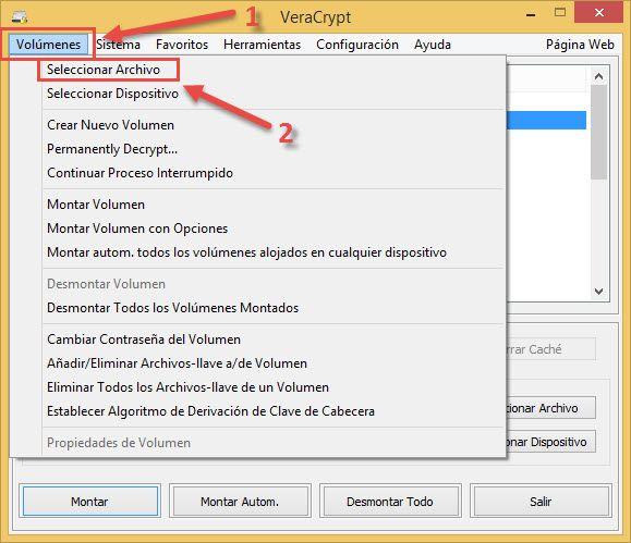 Seleccionar volumen de datos Veracrypt