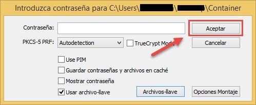 Confirmar el archivo-llave Veracrypt