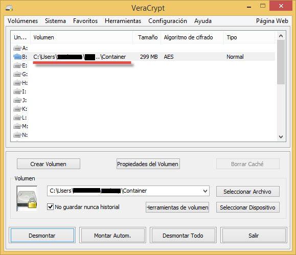 Mostrar el disco virtual encriptado Veracrypt