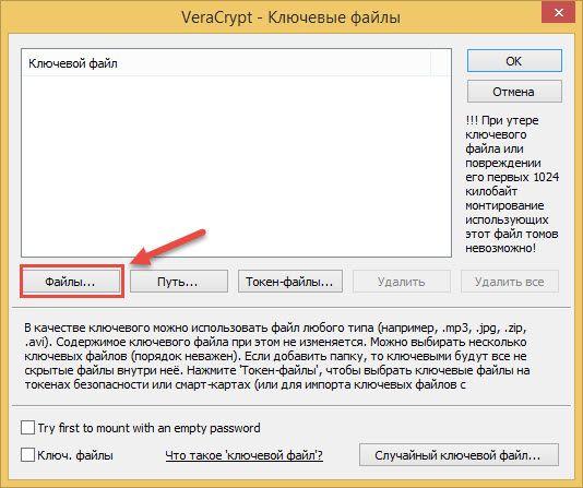 Veracrypt добавить файл