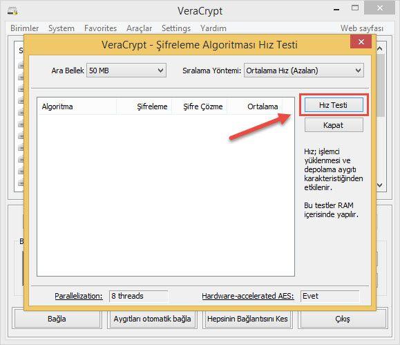 Veracrypt Benchmark testini baslat