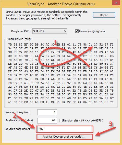 Veracrypt Sifre dosyasi olustur