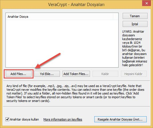 Veracrypt sifre dosyasi ekleme