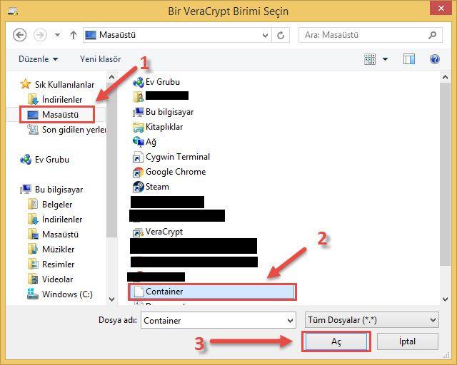 Veracrypt klasör açma