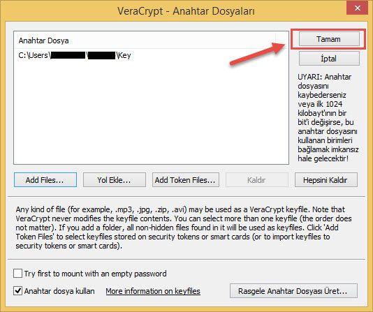 Veracrypt anahtar dosyayi açmak