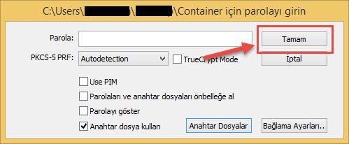 Veracrypt anahtar dosyasni onaylamak