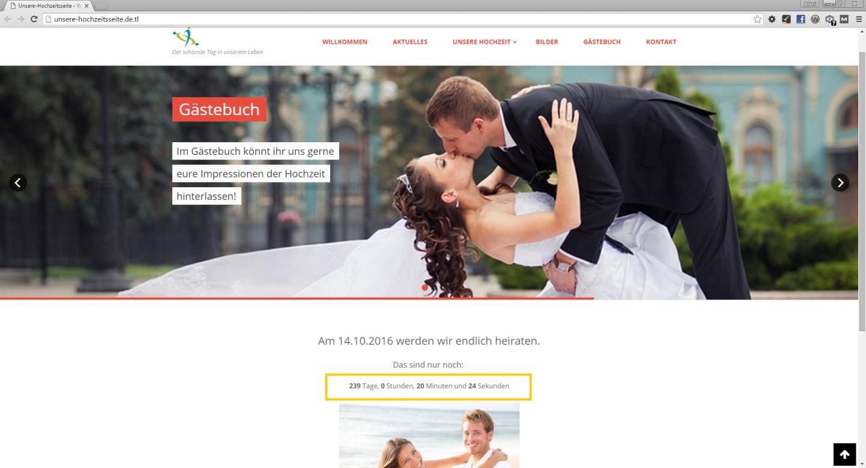 countdown vorschau webseite - Hochzeitshomepage Beispiele