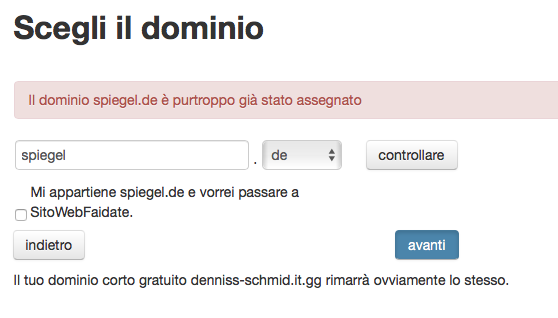 Assegna il tuo dominio - esempio